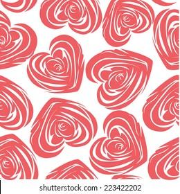 Pink art vector heart, rose pattern. Seamless flower background pattern. Fabric texture. Floral vintage design. Pretty cute wallpaper. Romantic cartoon feminine filigree tile.