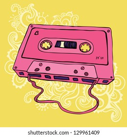 Pink Audio cassette on color background.  Oldschool Vector illustration. Retro cassette tape.