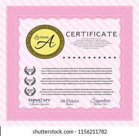 Pink Awesome Certificate template. Elegant design. Vector illustration. With linear background.