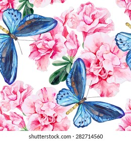 Pink Azalea and blue butterflies. Seamless, hand painted, watercolor pattern. Vector background