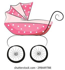 Pink Baby carriage isolated on a white background