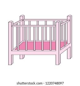 Pink baby cot for girl - original hand drawn illustration