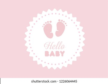 Pink  Baby Feet Vector Illustration. Hand Written Pink Hello baby Text. Pink Backround. Baby Shower Theme.  Abstract Design.