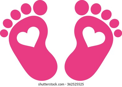 Pink baby foot print with hearts