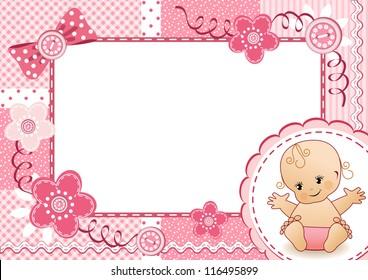 Pink baby frame. Vector illustration.