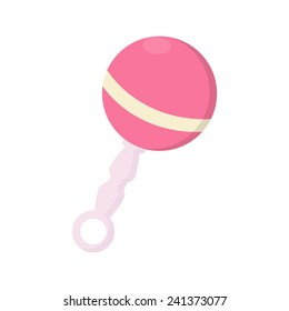 Pink baby rattle vector isolated on white for girl