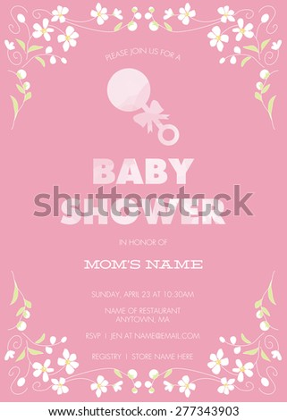 Pink Baby Shower Invitation Template Girl Stock Vector Royalty Free