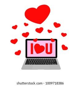 Pink bacground computer laptop screen show I heart U message with hearts floating out of screen . Online love message sent for lover. Valentine's day concept.