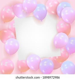 Pink background from balls with a blank sheet of paper. Template for celebration of happy birthday, Valentines Day, wedding with space for text. Vector illustration