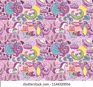 Pink background with fantastic animals. Yeti, Dragon, Unicorn, cat and mermaid, lochness, ufo and Godzilla in cartoon style. Perfect for kids apparel, fabric, textile, nursery decoration, wrapping pap