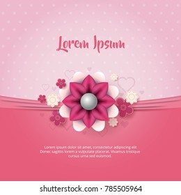 Pink background with heart flower
