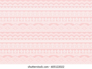 pink background of lace trims.