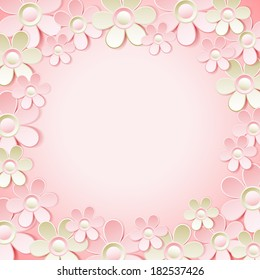 pink  background with many flowers,  vector illustration