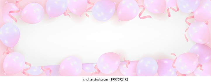 Pink background from realistic air balloons with a blank sheet of paper. Template for celebration of happy birthday, Valentines Day, wedding with space for text. Vector illustration