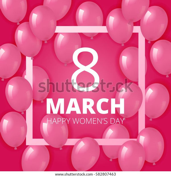 Pink background with realistic helium balloons and square frame. Perfect for women's and mother's day.
