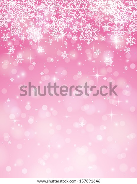 pink-background-snowflakes-vector-illust