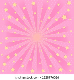 Pink background with sunbeams, flying star in air. Romantic elegant picture for invitation card ( birthday invitation, party, discount) Cute banner for surprise, blank space in center for text