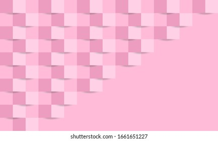 Pink background with weave effect made with light and dark squares forming a diagonal pattern with an empty triangular section. There is an empty copy space section for text and images.