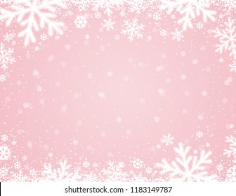 Pink  background with white blurred snowflakes, vector illustration