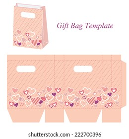 Pink bag template, vector illustration with hearts and dot pattern