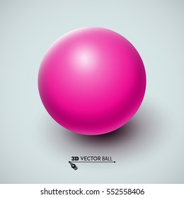 Pink ball. Sphere on a white background. Vector for your graphic design.