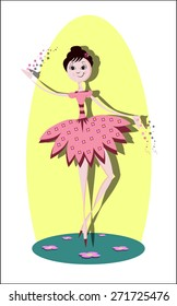pink ballerina dance girl with flowers image