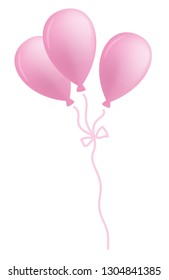 pink balloons isolated on white background