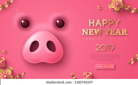 Pink banner with cute funny pig face and gold flowers and streamers for 2019 Chinese New Year. Greeting card and calendar design. Vector illustration, place for text.