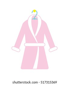 Pink bathrobe icon. Vector illustration.