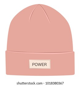 Pink beanie hat isolated on white background