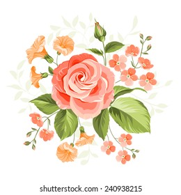 Pink beautiful rose over white background. Vector illustration.