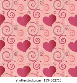 Pink beautiful seamless pattern tile with hearts and flourish designs for festive surface designs, textiles, fabric, backgrounds, wrapping paper, gift cards, invitations, weddings and wallpapers