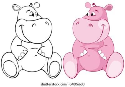 Pink behemoth. Color and outline illustration