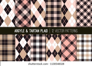 Pink, Beige and Black Argyle, Tartan and Gingham Plaid Vector Patterns. Girly Preppy Fashion Style Fabric Prints. Repeating Pattern Tile Swatches Included.