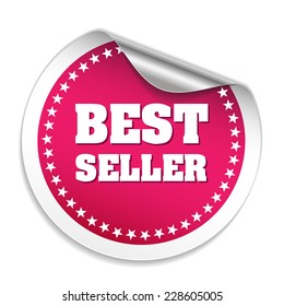 Pink best seller sticker with metallic peel on white background