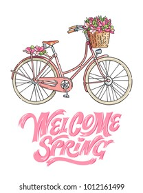 "Pink bicycle carrying a bouquet of tulips. Hand lettering saying ""Welcome spring"". Vector illustration."