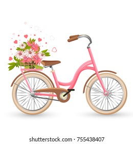 Pink bicycle with cart full of flowers and hearts vector illustration with transportation cycle decorated by petals isolated on white in love concept