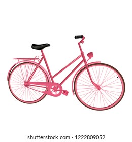 Pink bicycle. Vector illustration. Isolated on a white background.