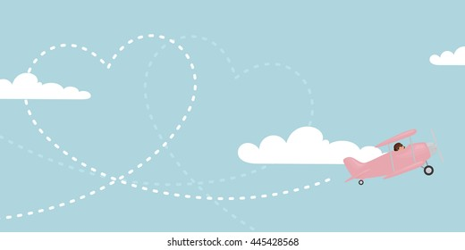 A pink biplane trailing a heart in the sky.