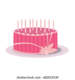 Pink Birthday cake with decorations and candles