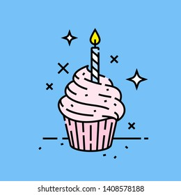 Pink birthday celebration cupcake line icon with candle on blue background. Vector illustration.