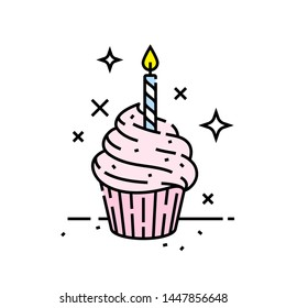 Pink birthday celebration cupcake line icon with candle symbol. Vector illustration.