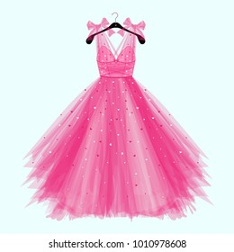 Pink birthday  party dress with bow. Fashion illustration for invitation card
