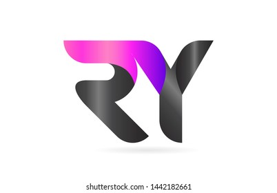 pink black alphabet letter RY R Y combination logo design suitable for a company or business