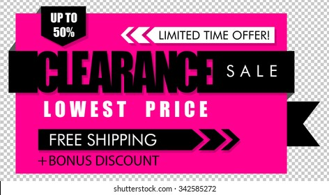 Pink and black clearance sale banner