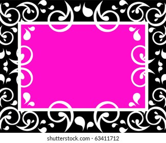 Pink Black Frame Ornate White Design Stock Vector Royalty Free