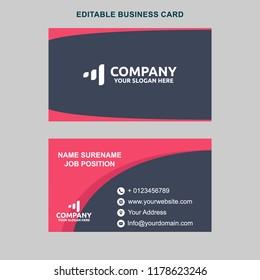 Pink Black Modern Business Card