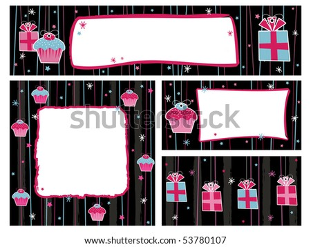 Pink Black Party Banners Frames Decorations Stock Vector Royalty