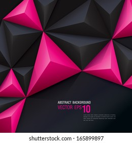 Pink and black vector geometric background. Can be used in cover design, book design, website background, CD cover, advertising.