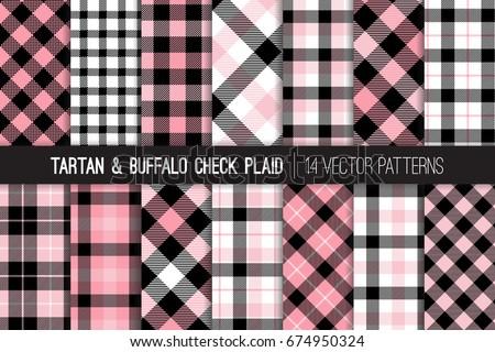 Pink Black White Tartan Buffalo Check Stock Vector Royalty Free Fascinating Check Pattern